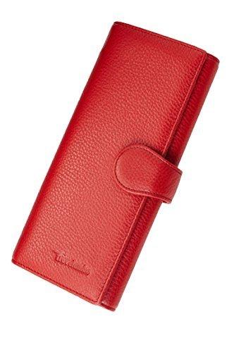 Travelambo Womens RFID Blocking Wallet Trifold Ladies Luxury Leather Clutch Travel Purse