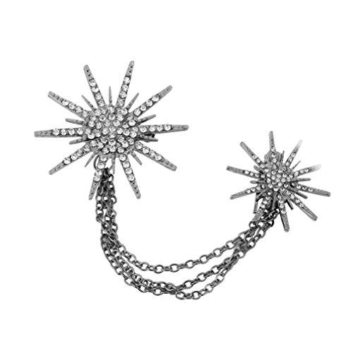 Botrong Fashion Crystal Artificial Diamond Spark Rhinestone Retro Brooch (Black)