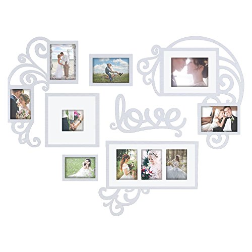 Hello Laura Heart Shape Love Photo Frame Picture Frame Set - Made to Display Three 4x6 Photos - Ready to Hang or Stand with Wall Mounting Hardware for Valentine Day Birthday Memories