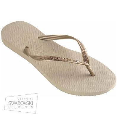 Havaianas Slim Crystal Glamour Swarovski SW Sand Grey/Light Golden - UK 6/7