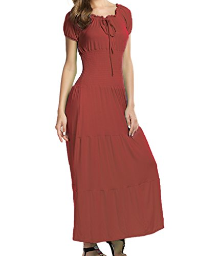 [Women's Gypsy Style Cap Sleeves Smocked Waist Tiered Peasant Renaissance Dress (XL,Brown)] (Renaissance Style Dress)
