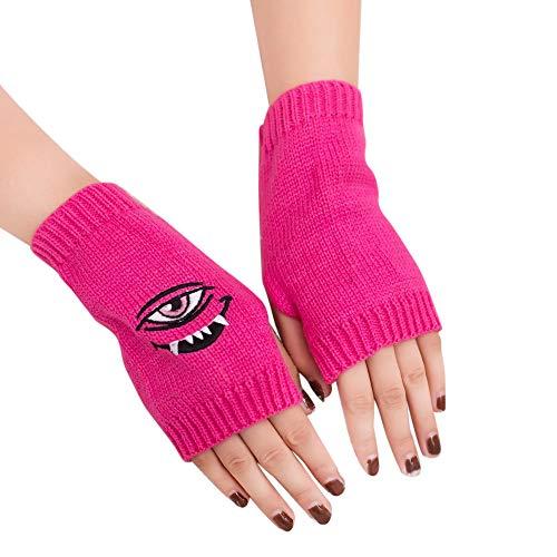 ????LIULIULIU????Women Embroidered Demon Eyes Knitted Arm Fingerless Warm Winter Gloves Soft Warm Mitten