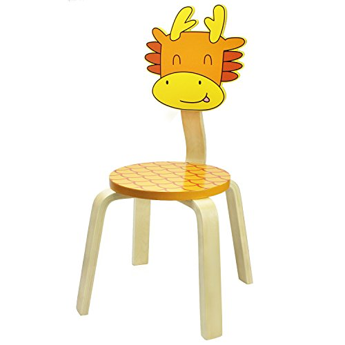 School Stack Chairs, Bentwood Chairs for Kids and Cute Animal Style for Baby Boys, Girls and Toddlers, Children Wooden Furniture Chair for 1, 2, 3, 4, 5, 6 Year Old and UP - iPlay, iLearn (Dragon) - Wooden Kids Furniture