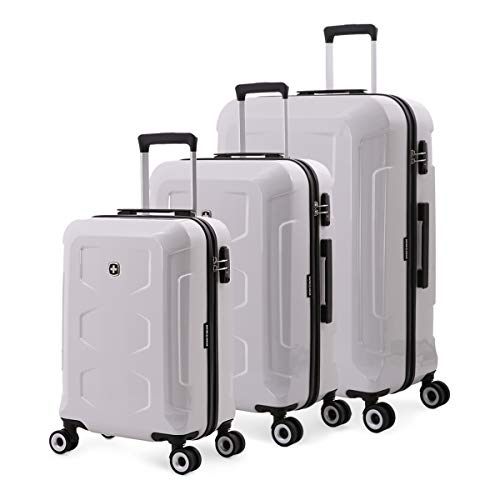 SWISSGEAR 6572 3-Piece Expandable Hardside Rolling Spinner Luggage Set | Wheeled Travel Suitcases | 19-inch, 23-inch, 27-inch - Limited Edition White