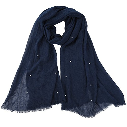 Vbiger Women Crinkle Cloud Hijab Lightweight Scarf Pearls Long Shawl Wrap Islam Muslim (Dark Blue) ()