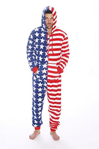 6423-M-Flag #FollowMe American Flag Adult Onesie / Pajamas (Funny Onesie Adults)