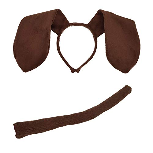 Animal Dog Long Ears Headband and Tail - Puppy Pooch Costume Accessory -Ears and Tail Set - Headband Ears Brown ()
