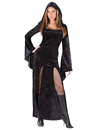 [Black Gothic Costume Velvet Sorceress Theatre Costume Vampiress Long Gown Hood Sizes: Small-Medium] (Goth Vampire Mask)