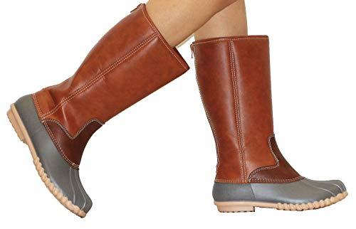 MVE Shoes Women's Two-Tone Insulated Duck Rain Boot Autum 6 Gray com 8