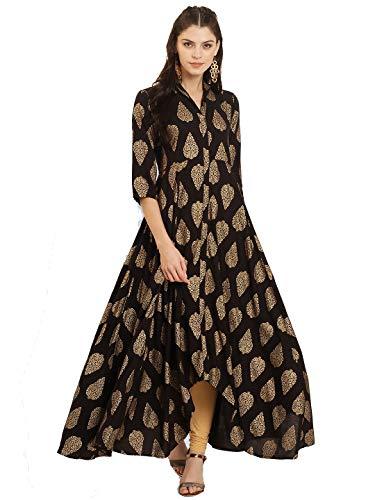 Dream Angel Fashion Women Dress Kurti Bollywood Designer Printed Anarkali Suit Kurta Ready to Wear (X-Large-40, Black)