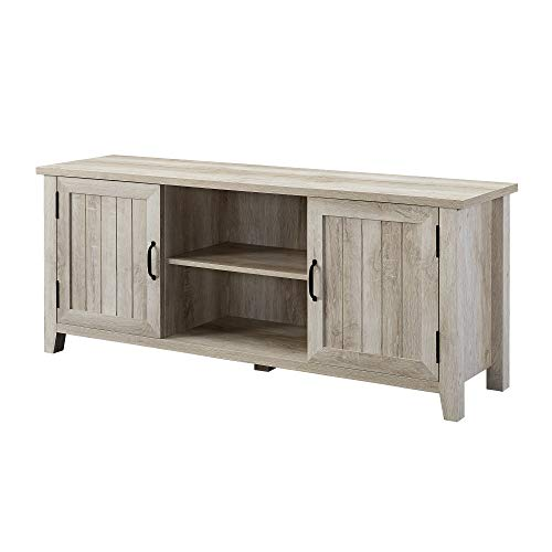 WE Furniture AZ58CS2DWO TV Stand, 58 , White Oak