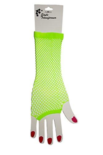 Neon Fish Net Long Arm Sleeve Glove Trendy Fashion Punk Style (Neon -