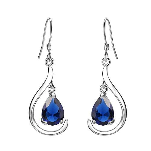(EVER FAITH Women's 925 Sterling Silver Prong CZ Simple Teardrop Daily Hook Dangle Earrings Blue)