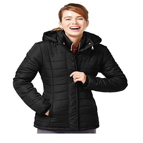 Rampage Hooded Quilted Puffer Coat Black Juniors Large