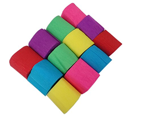 Aipleril Crepe Paper Assorted Colors Pack of 12 Craft Streamers Party Decorations - Crepe Streamer Party Decoration