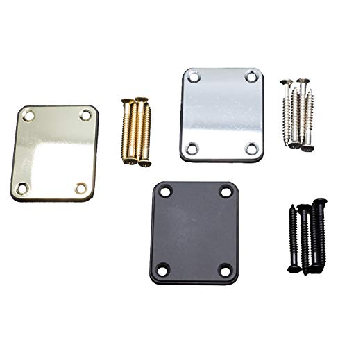 Timiy Guitar Neck Plate(3 Pack) in color Balck,Silver,Gold (Silver Plate Tone)