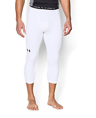 Under Armour Men's HeatGear Armour ¾ Compression Leggings, White /Black, X-Large by Under Armour (Image #2)