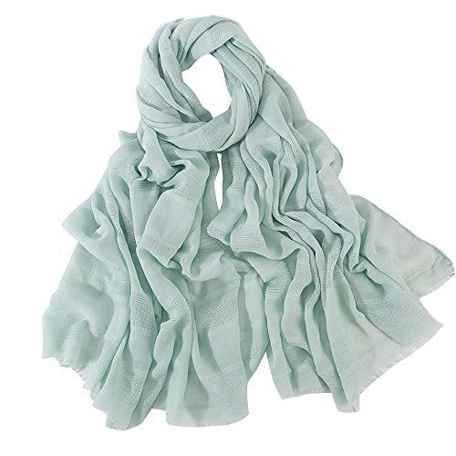 (HYIRI Women'S Ladies Cotton And Linen Hollow Amadan Soft Lightweight Muslim Headscarf Summer Shawl)
