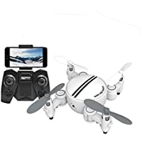 Gotd RC Quadcopter Drone Wifi 0.3MP Camera 2.4 4CH 6-Axis Gyro 3D UFO FPV RC Foldable Quadcopter with Colorful LED Lights, White