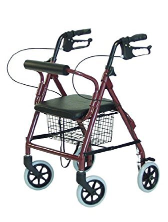 Junior Rollator - Burgundy color . This Junior is perfect for a person 4' 9'' to 5' 2''