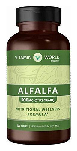 alfalfa 500 mg (71/2 grain) Nutritional Wellness Formula 500 tablets Vegetarian Dietary Supplement