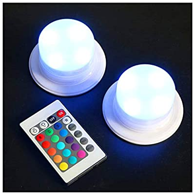 LED 16 Color Options Remote Control Rechargeable Light with 4 LEDs, Under Table Wedding Light Adapter Lights, Multicolor Swimming Pool Light - Pack of 2