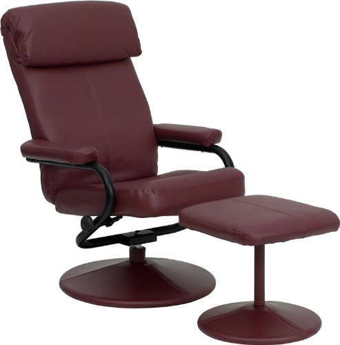 Flash Furniture Contemporary Burgundy Leather Recliner and Ottoman with Leather Wrapped ()