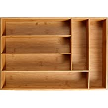 KD Organizers 6-Slot Bamboo Drawer Organizer: 45.1 x 30.5 x 6.4 cm Tray for Large Drawers