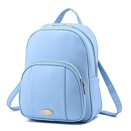 Wewod Mujeres Mochila de PU Cuero Impermeable Backpack Bolsa de Viaje Estilo Ocio Moda para Chicas 25 x 32 x 12 cm (L X H x W ) Azul