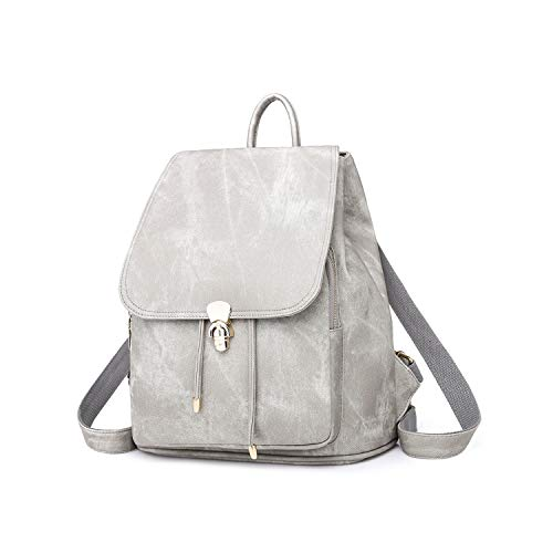 Gray Shoulder Leather Women Lady Ybriefbag PU Bag School Purse Rucksack Backpack Tote Lightweight 7w01qSg
