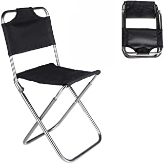New Portable Folding Chair Aluminum Camping Fishing Chair with Backrest Carry Bag Black Chairs