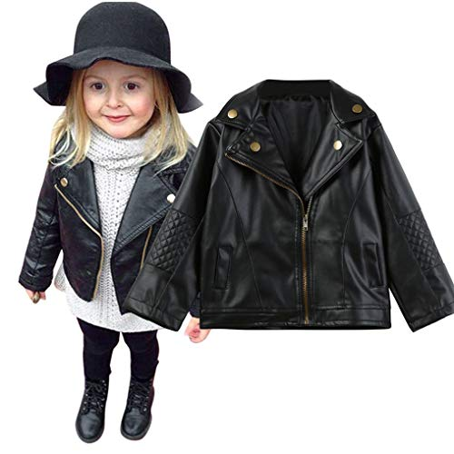 Price comparison product image Mnyycxen Infant Toddler Baby Girls Autumn Winter Coats Leather Coat Short Jacket Outerwear Warm Thick Clothes Outfits (110,  Black)