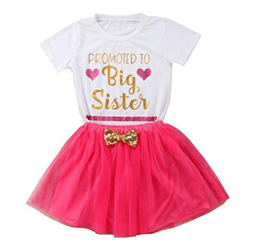 Gaono 2018 Baby Girl Clothes Outfit Big Sister Letter Print T-Shirt Top Blouse Shirts (A-Red Skirt Set, 2-3 Years)