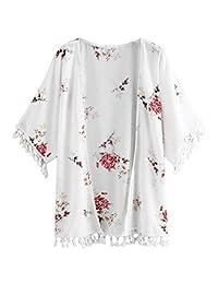 Romwe Kimono con Flecos y Estampado Floral, Talla Grande, para Mujer