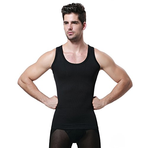 GKVK Mens Slimming Body Shaper Vest Shirt Abs Abdomen Slim,L(chest size 96cm-101cm/38inches-40inches),Black
