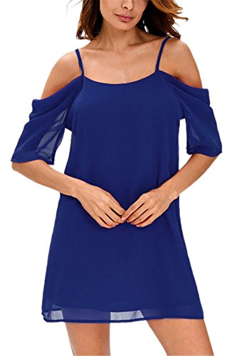 Mousseline Manche Court a Uni Dress Nu Plage de Et Epaule Femme Robe Bleu Casual Robe Bretelle xq7BwIPq0