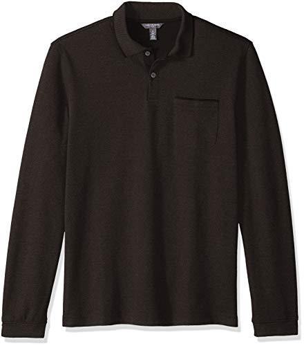 - Van Heusen Men's Flex Long Sleeve Jaspe Solid Polo Shirt, Brown Morel, Medium