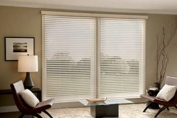 Simple Graber 2 Faux Wood Blinds, Horizontal Wood Blinds 60 Wide x 54 Long, Coconut Color