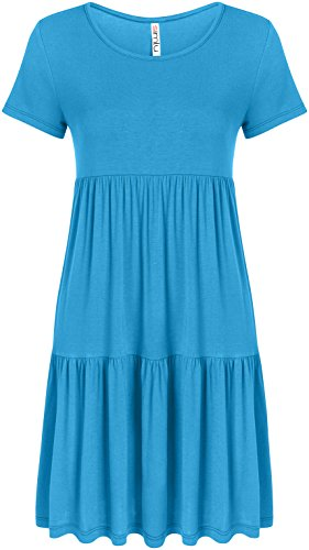 Casual Tiered T Shirt Dresses for Women Reg and Plus Size Summer Sundress - USA Turquoise Large, Turquoise, (Baby Doll Summer Dress)
