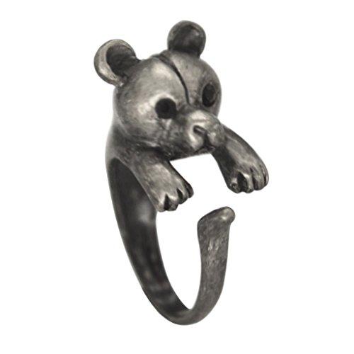 Black Rhinestone Eye Raccoon Antique Silver Tone Blingy Stretch Ring