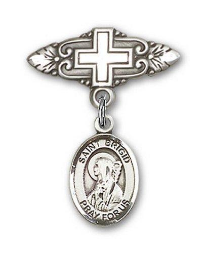 Icecarats Créatrice De Bijoux En Argent Sterling St. Brigid De L'Irlande Broche De Badge Charme Avec Une Croix X 3/4