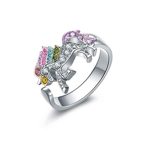 YuRocker Rainbow Unicorn Ring Women Little Girl 18K Gold Plated Zircon Fashion Jewelry Gift -