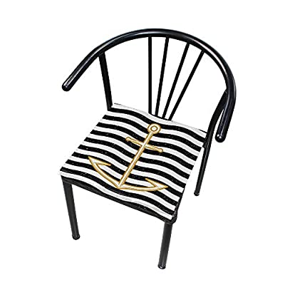 Bardic HNTGHX Outdoor/Indoor Chair Cushion Ocean Anchor Stripe Square Memory Foam Seat Pads Cushion for Patio Dining, 16