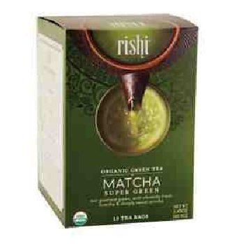 Rishi Matcha Super Green Tea, Organic Green Tea Sachet Bags, 15 Count (Pack of 2) ()