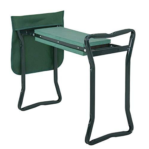 (HomGarden Folding Garden Kneeler Seat Bench Stool w/Soft Kneeling Pad and Large Tool Pouch Foldable Gardener Stool (1pc))