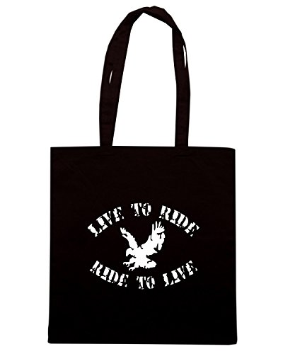 T-Shirtshock - Bolsa para la compra OLDENG00571 live to ride ride to live Negro