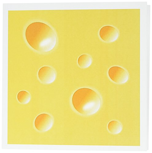 3dRose Yellow Swiss Cheese Slice Wedge Illusion Greeting Cards, 6