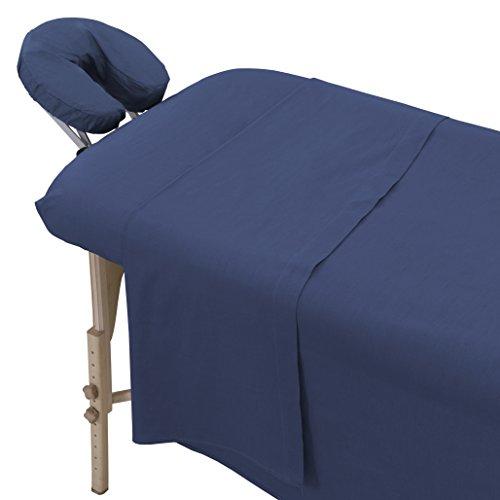 London Linens Polycotton Massage Table Cover Sheet 3 Piece Set (Blue) from LONDON LINENS