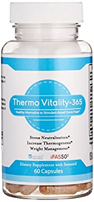 ThermoVitality-365 - The Healthy Alternative to Stimulant Based Quick Fixes, 3-In-1 Caffeine Free Appetite Suppressant, Natural Thermogenic and Stress Reduction with Sensoril Ashwagandha, 60 V-Cap