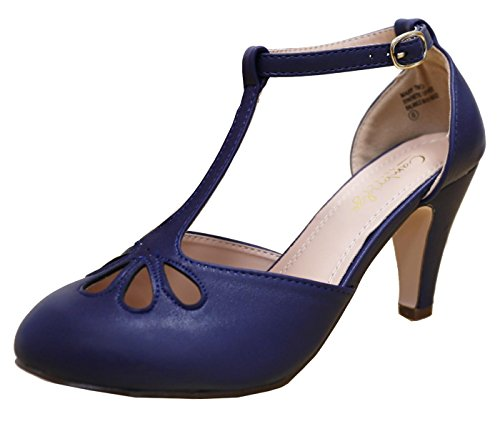Womens T-strap Pumps - Cambridge Select Women's Teardrop Cutout T- Strap Mary Jane Dress Pump (8.5 B(M) US, Navy)